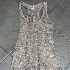 Willow & Clay tan sequins & knit tank top